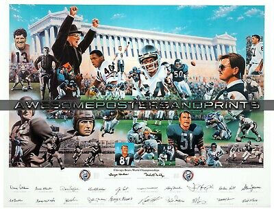 """NFL Chicago Bears 75th Anniversary Team Signed Lithograph Large Reprint 13""""x17"""""""