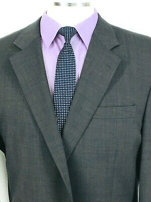 44L Jos A Bank Mens 2 Button Wool Blazer Suit Jacket Gray Taupe Pindot Exc!