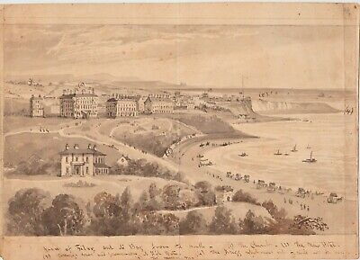 Original Drawing Of Filey, North Yorkshire. Annotated. Early/Mid 19Th Century