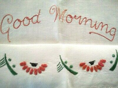 Vintage 'Named' 'Good Morning' DECO Flowers   Hand Embroidered Traymat