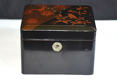 #2 Vintage Hand Painted Japanese Wooden  Lacquer  Box  With Lock And Key