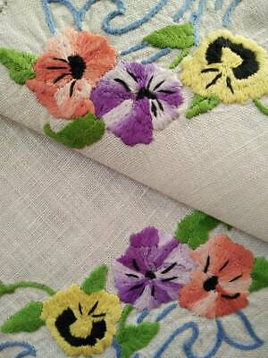 Stunning Pansy Flowers  Vintage Hand Embroidered Centrepiece