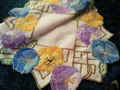 Stunning Pansy Flowers  Vintage Heavily Hand Embroidered Centrepiece