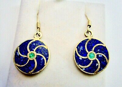 Beautiful 925 Sterling Silver Earring Studded with Lapis& Malachite Stones