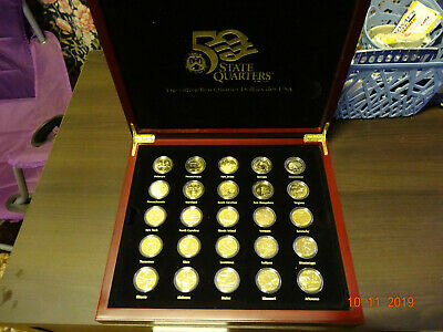 24k GOLD PLATED US STATE QUARTER DOLLAR 25 Coin BOXED SET Very RARE