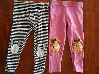 Girls EMMA  ( THE WIGGLES ) Leggings Plus Rabbit Leggings Size 1