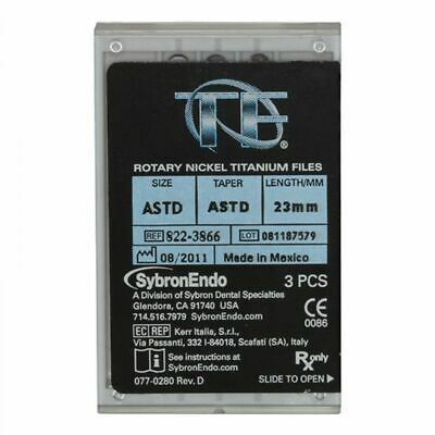 New Twisted Files All Sizes Niti Rotary Endodontic Files 10 pack By Sybron Endo.
