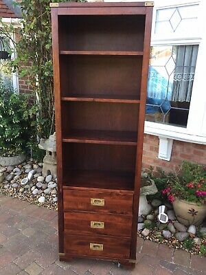 Laura Ashley Chaldon Antique Campaign Style Tall Bookcase Solid Wood