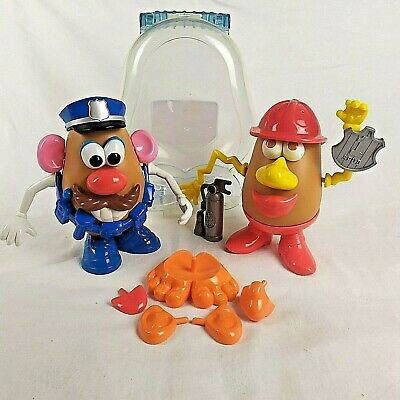 Playskool Mr POTATO HEAD Policeman Fire Fighter WITH CARRY CASE extras Toy Story