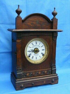 Antique 8 Day Alarm Mantle Clock, American Movement, Working.