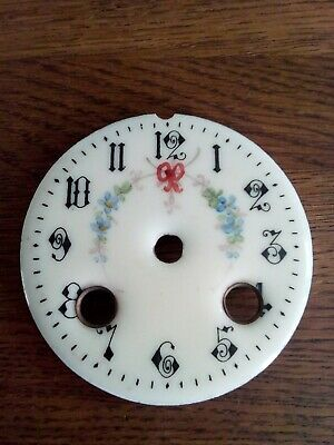 Antique French Enamel 8 day Clock  Dial 8cm ( ivory in colour)