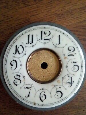 Vintage Enamel French Clock Dial With Backing  9.8cm