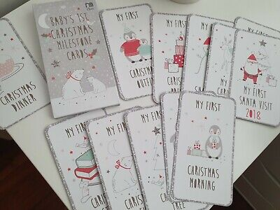 Baby First Christmas Milestone Cards - MOTHERCARE - New* - Photo Baby/Memory