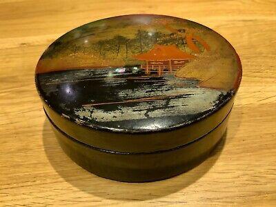 Antique Chinese Lacquered Powder Boewl Decorated With Wooded Lake & Pagoda Scene