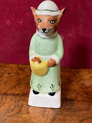 Fox a Hand Painted English Porcelain Figure of a Lady Fox Carrying a Basket