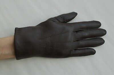 Girls / Ladies Faux Leather Winter Gloves Brown Size Extra Small (7)