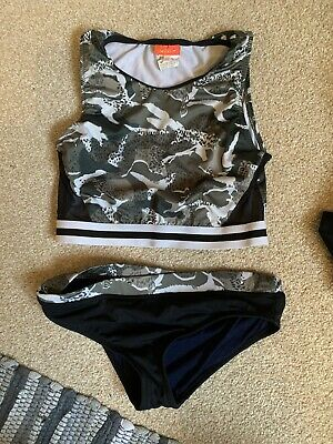 River Island Girls Shorts Crop Top Set 2 Piece Sporty 9-10 Years Camouflage