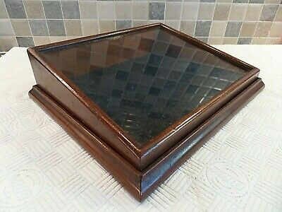 Edwardian Small Mahogany Display Case With Lift Off Glass Lid & Velvet Cushion
