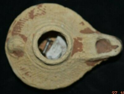 "Sale!! Ancient Egyptian Oil Lamp 4"" Prov"