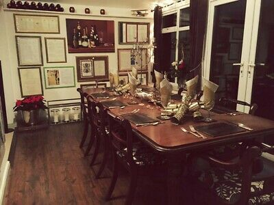 Solid mahogany regency style dining table and 8 chairs 2 x carvers