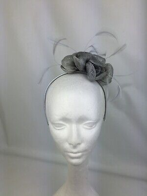 Sale price bargain Silver grey fascinator headband wedding flower races ascot