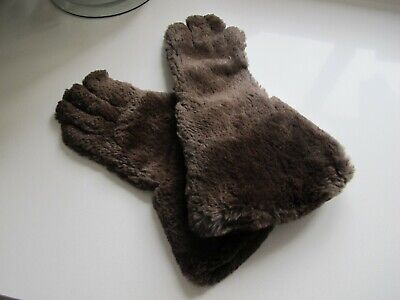 Beautiful Vintage Real Fur Leather Gauntlet Gloves Winter warm Used