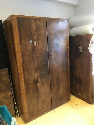 Vintage Solid Walnut Hardwoord His And Hers Wardrobes Storage Antiques Collectab