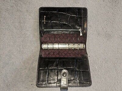 MULBERRY Vintage Black Congo Leather Agenda Diary Organiser Filofax. Genuine