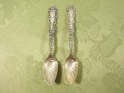 """""""WAVERLY"""" (1892) by WALLACE ~ (2) STERLING SILVER FRUIT SPOONS ~ $0.99 NR"""