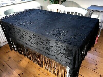Beautiful Very Large Antique Vintage Black Embroidered Silk Shawl