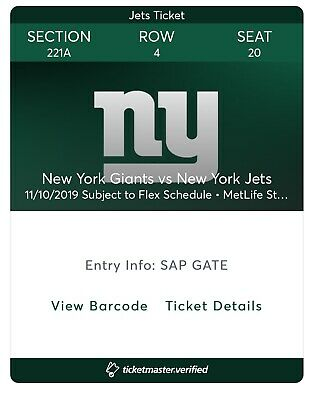 (2) Jets vs Giants Section 221A Row4 Sunday 11/10 November 1pm New York MetLife