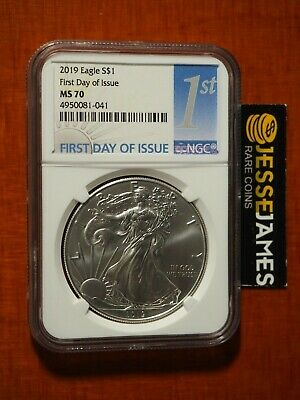 2019 $1 American Silver Eagle Ngc Ms70 First Day Of Issue Fdi 1St Blue Label