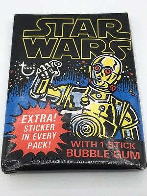 Vintage 1977 Star Wars Topps Series 1 Blue Unopened Wax Pack Bubble Gum Cards