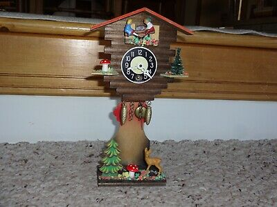Vintage Germany Miniature Cuckoo Clock Style Deer Mushroom Tree Scene Working
