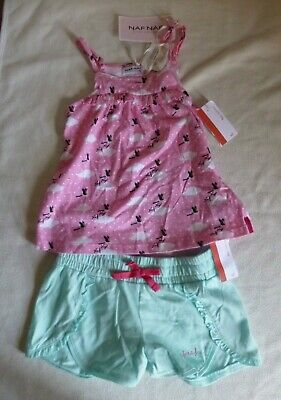 Naf Naf Girls turquoise Shorts & pink Top 5-6 years old New with tags