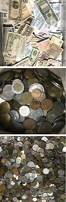 Bulk Lot 25 FOREIGN WORLD COINS + 7 Bank Notes ..........