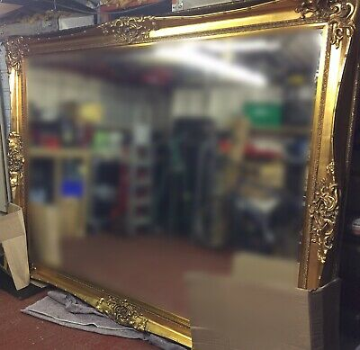 Giant 8 Foot x 6 Foot Antique Gold Gilt Ornate Mirror