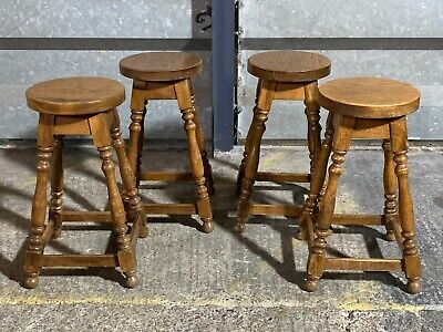 4x Chunky rustic farmhouse solid oak bar counter stools with turned carved legs