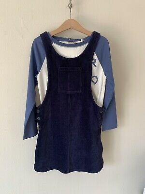 Girls Next Age 6 Blue Dunagree Dress Long Sleeve Top Outfit New With Tags