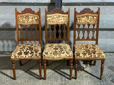 Trio of antique victorian carved turned chairs upholstered hall dining library