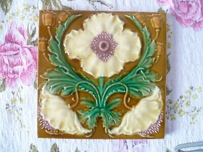 Antique Majolica Art Nouveau 6 inch Floral Tile Washstand, Wall, fireplace