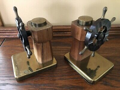 Antique CHASE Art Deco Bakelite Brass/Wood NAUTICAL SEA SHIP WHEEL BOOKENDS