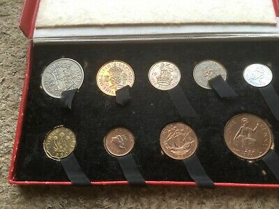 Coins 1950 year set in Display box - Half Crown to Farthing
