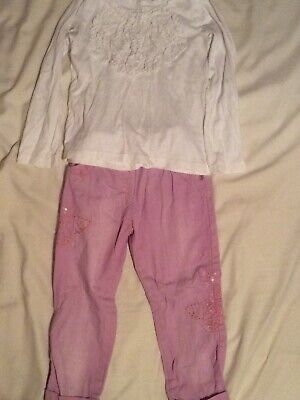 Girls Next White Top And Pink Trousers Size Aged 2-3 Years