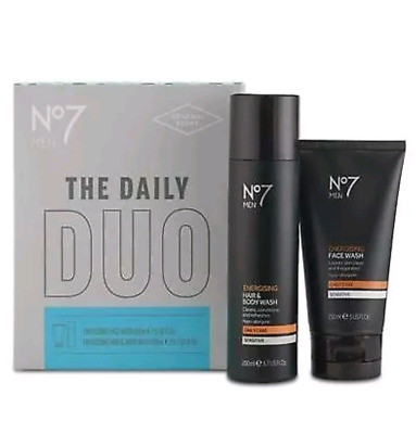 NO7 MEN THE DAILY DUO FACE WASH 150ml & HAIR/BODY WASH 200ml GIFT SET NEW BOXED