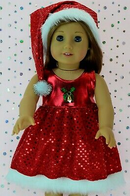 """Doll Clothes 18"""" American Girl~Our Generation~Journey CHRISTMAS SEQUIN DRESS~HAT"""