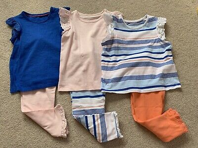 Marks & Spencer Girls Top & Leggings Set x3 - GREAT CONDITION Blue, White & Pink