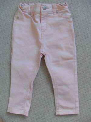 Pumpkin Patch cotton trousers peach, elasticated inserts at waist - Size 2 86cm