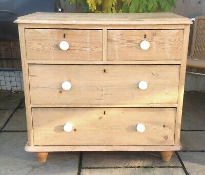 Antique Stripped Pine 2 Over 2 Chest Of Drawers Dovetail Joints - Can Deliver