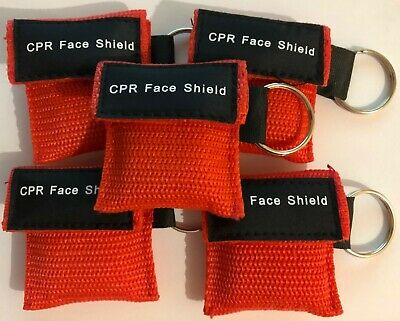 UK Stock 5 x First aid resuscitation CPR face mask shield keyring Mouth to Mouth